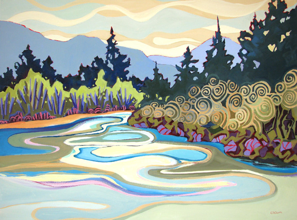 """Bend in the River,"" landscape painting of a river by Carolee Clark"