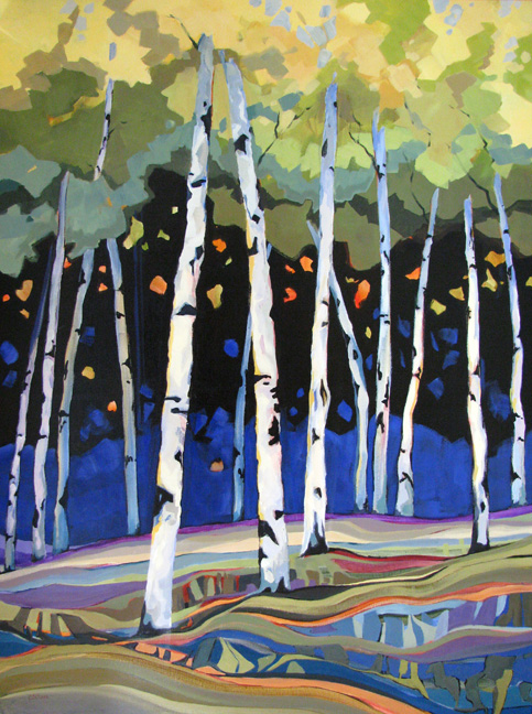 Wind Chimes, tree painting by Carolee Clark