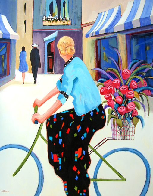 Cycling Chic, figure painting by Carolee Clark