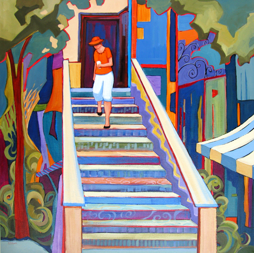 Coffee Shop Stairs - acrylic painting by Carolee Clark